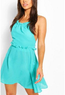 Blue Halterneck Mini Strappy Beach Dress