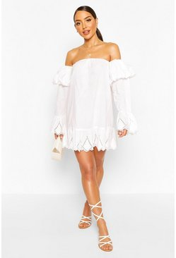 White Broderie Puff Sleeve Bardot Beach Dress