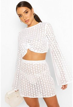 White Broderie Crop And Skirt Beach Two-Piece
