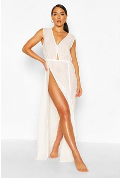 White Cut Out Split Leg Maxi Beach Dress