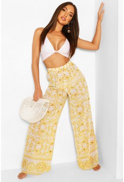 White Chain Print Beach Pants