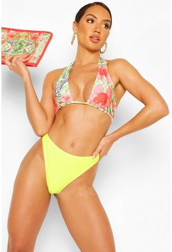 Lime Abstract Animal Triangle High Waist Bikini
