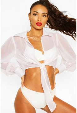 White Tie Front Balloon Sleeve Beach Shirt