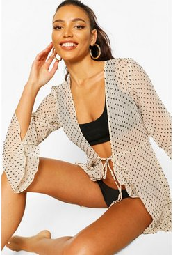 Cream Dobby Ruffle Tie Beach Cover Up