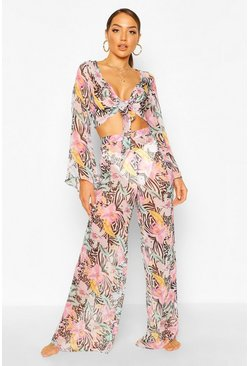 Multi Tropical Animal Wide Leg Beach Pants