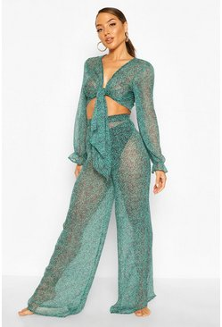 Green Leopard Wide Leg Beach Trousers