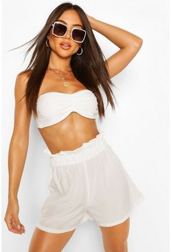 White Paperbag Waist Beach Shorts