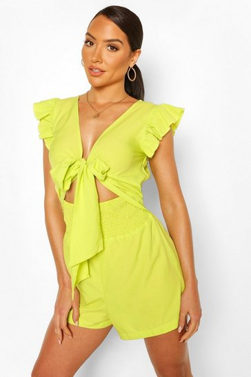 Lime Tie Front Beach Playsuit