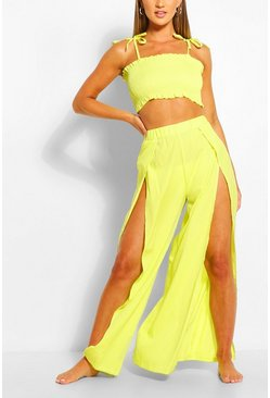 Lime Shirred Split Front Beach Two-Piece