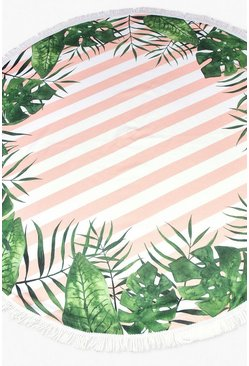 Pink Tropical Stripe Round Tassel Beach Towel