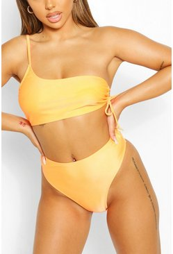 Orange Mix & Match Crinkle High Waisted Bikini Brief