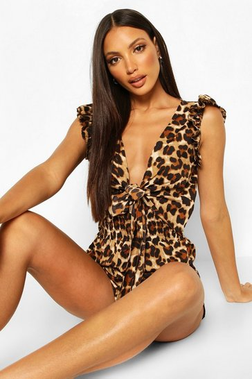 Brown Leopard Print Tie Front Shirred Beach Playsuit