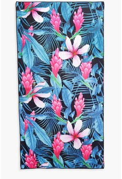 Blue Floral Print Tropical Beach Towel
