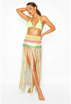 Multi Fringed Knitted Rainbow Beach 2-in-1 Top & Skirt