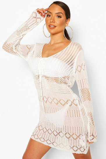 White Knitted Crochet Beach Cover Up