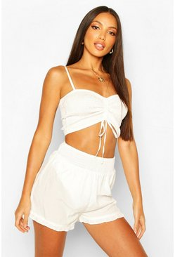 White Shirred Crop & Short Two-Piece
