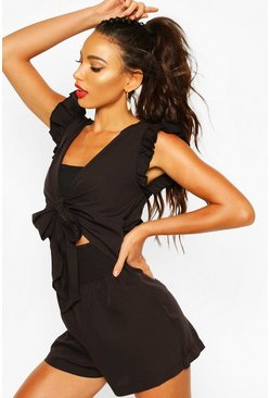 Shirred Tie Front Playsuit, Black