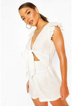 White Shirred Tie Front Romper