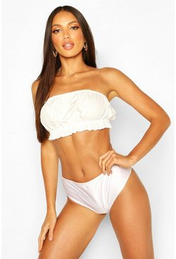 White Bandeau Beach Crop Top