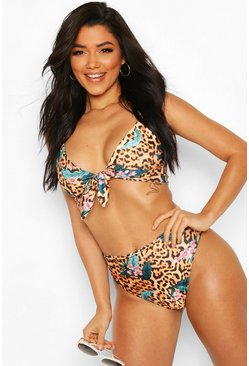 Brown Tropical Leopard Tie Front High Waist Bikini