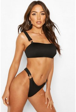 Black Ribbed Button Snap Bandeau Bikini