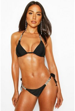 Black Diamante Trim Triangle Bikini
