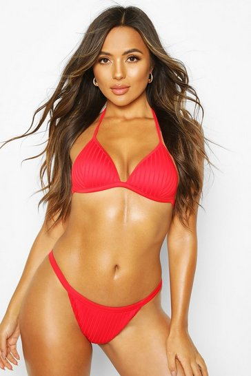 Red Ribbed Textured Moulded Triangle Bikini