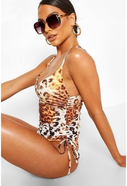 Brown Ombre Leopard Ruched Side Swimsuit
