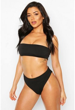 Black Mix & Match Sheered Crinkle Bandeau