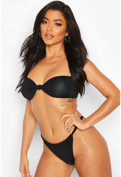 Black Twist Knotted Bandeau String High Leg Bikini