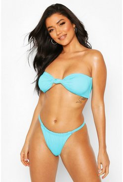 Blue Twist Knotted Bandeau String High Leg Bikini