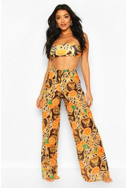 Black Mixed Chain Print Beach Trousers