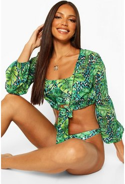 Camisa playera de leopardo tropical con nudo frontal, Azul