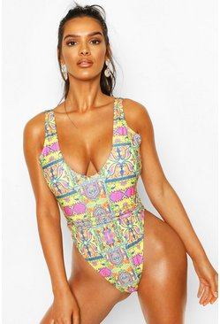 Yellow Tropical Tile Print Tie Belt Swimsuit