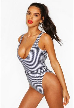 Navy Nautical Rope Tie Waist Swimsuit
