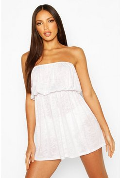White Burnout Jersey Bandeau Beach Dress