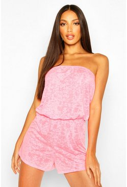 Neon-pink Burnout Jersey Beach Playsuit