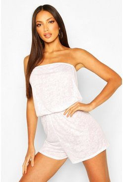 White Burnout Jersey Beach Playsuit