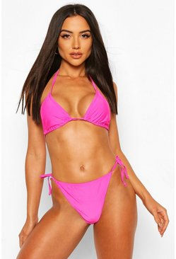 Hot pink Basic Triangle Tie Bikini