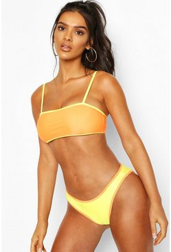 Yellow Contrast Square Neck Bikini