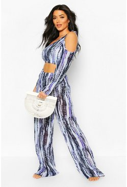 Blue Asymmetric Top & Trouser Tie Dye Beach Co-ord