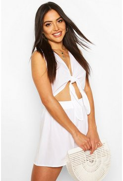 White Tie Front Detail Short Beach Co-ord