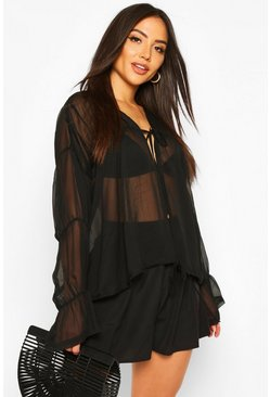 Black Draped Sleeve Beach Cover Up