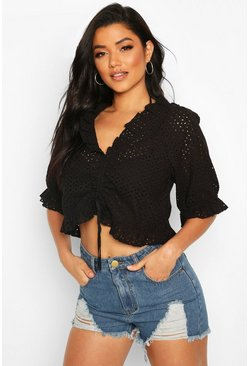 Black Broderie Ruched Front Puff Sleeve Beach Top