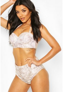 Brown Tonal Snake Print Underwired High Waisted Bikini
