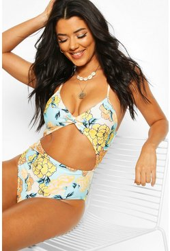 Blue Retro Floral Cut Out Bow Swimsuit