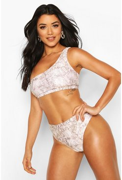 Brown Tonal Snake Print Asymmetric High Waist Bikini