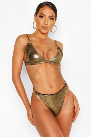 Gold Metallic Ring Detail Triangle Bikini