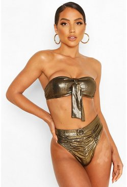 Gold Metallic Bandeau High Waist Bikini