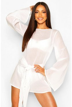 White Tie Waist Flare Sleeve Beach Dress